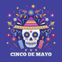 Cinco de Mayo skull and colorful flowers vector