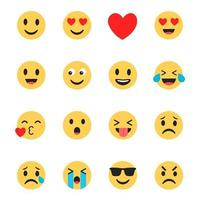 Emoji Icons Set Flat Design vector