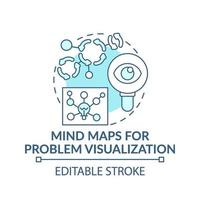Mind maps for problem visualization blue concept icon vector
