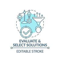 Evaluar y seleccionar soluciones concepto icono azul vector