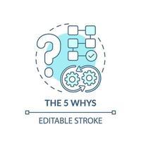 The 5 whys blue concept icon vector