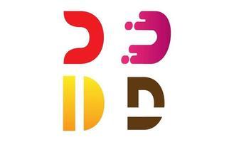 vector de plantilla de diseño de conjunto de logotipo inicial d