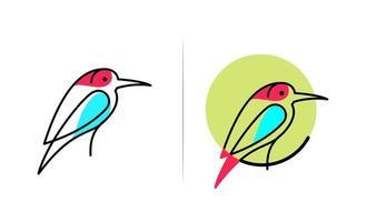 Bird line logo design template vector