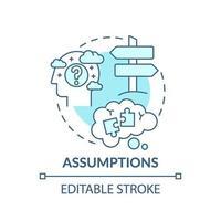 Assumptions blue concept icon vector