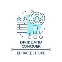 Divide and conquer blue concept icon vector