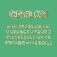 Ceylon vintage 3d vector alphabet set
