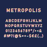 Metropolis vintage 3d vector alphabet set