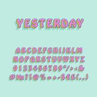 Yesterday vintage 3d vector alphabet set