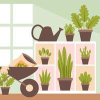 Flat of Home Gardening with A Shelf Background vector