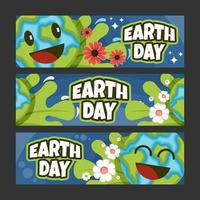 Earth Day Banner with Fun Earth Character vector