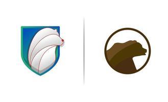 Head bear shield logo design template vector