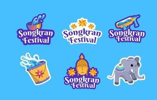 conjunto de pegatinas de Songkran vector