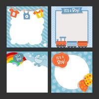 plantilla de colección de tarjetas de bebé nacido vector