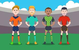 Collection of Soccer Player Characters vector