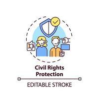 icono del concepto de protección de los derechos civiles vector