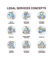 Legal services concept icons set vector