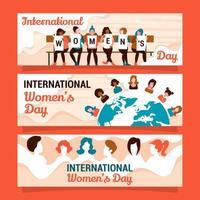 conjunto de diseño de banner de diversidad del día de la mujer vector