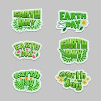 Earth Day Typography Sticker Design Set vector