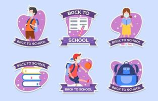 Back to School Sticker Set Design vector