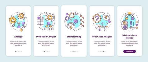 estrategias de resolución de problemas incorporación de la pantalla de la página de la aplicación móvil con conceptos vector