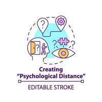 Creating psychological distance concept icon vector