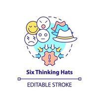 Seis sombreros para pensar concepto icono vector
