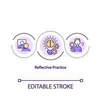 icono de concepto de práctica reflexiva vector