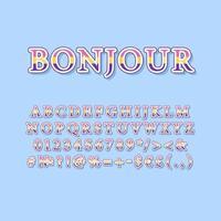 Bonjour vintage 3d vector alphabet set