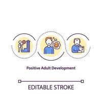 icono del concepto de desarrollo adulto positivo vector