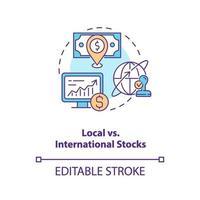 Local vs. international stocks concept icon vector