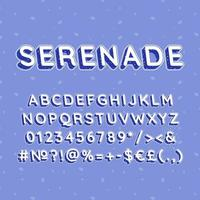 serenata, vendimia, 3d, vector, alfabeto, conjunto vector