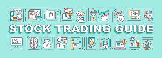 Stock trading guide word concepts banner vector