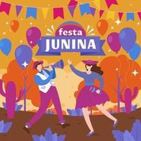 festa junina con dos personas bailando juntas vector