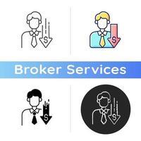 Discount broker icon vector