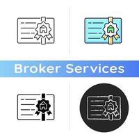 Broker's license icon vector