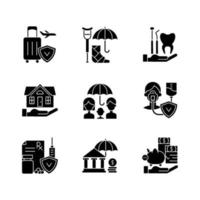 Insurance and protection black glyph icons set on white space vector