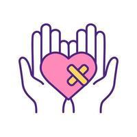 tratamiento de heridas del corazón icono de color rgb. vector