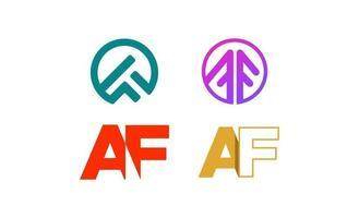 vector de diseño de plantilla de conjunto de logotipo de af af inicial