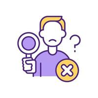 Man with magnifying glass RGB color icon vector