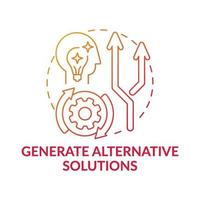 Generate alternative solutions red gradient concept icon vector
