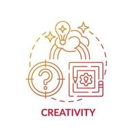 Creativity red gradient concept icon vector