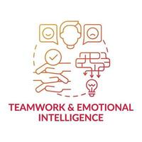 Teamwork and emotional intelligence red gradient concept icon vector