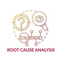 Root cause analysis red gradient concept icon vector