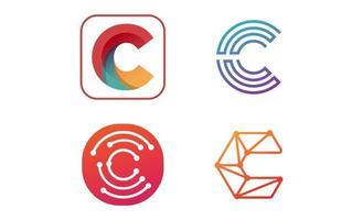 diseño creativo set logo inicial c vector inspiración