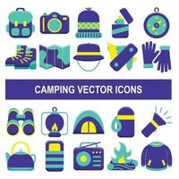 Camping vector icons in flat design style.