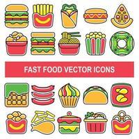iconos de vector de comida rápida en estilo de diseño de contorno relleno.
