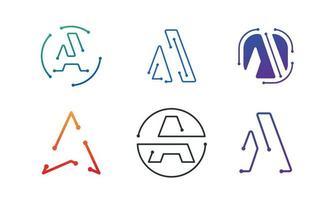 Initial A monoline logo set  design inspiration vector