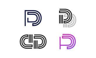 conjunto de logotipo de letra d de arte de línea simple y minimalista