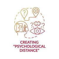 Creating psychological distance red gradient concept icon vector