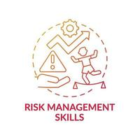 Risk management skills red gradient concept icon vector